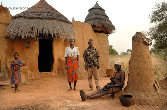 Typical family in front their house, Tata Somba
